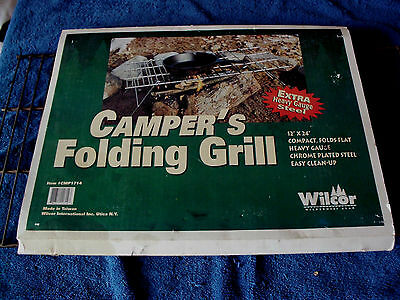 Vintage Wilcor Campers Folding Grill Cook Over Campfires Extra Heavy Guage Steel