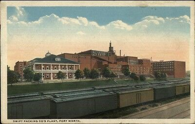 Ft. Fort Worth TX Swift Packing Co Plant & RR Cars c1920 Postcard