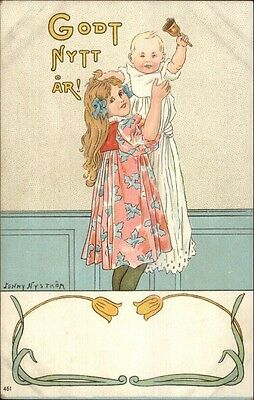 Foreign New Year - Little Girl Holds Baby - Jenny Nystrom c1910 Postcard
