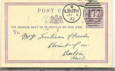 GB 1872 postal stationery postcard from Louth to Barton