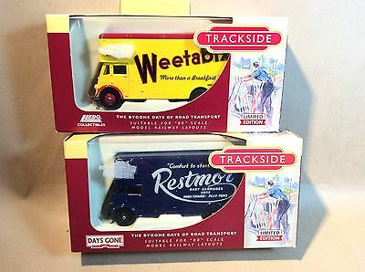 Pair of Corgi Trackside Guy Pantechnicon Vans - Restmor and Weetabix
