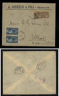 Lebanon  nice  registered cover to US   1934      EX1013
