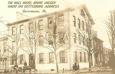 Original Vintage 1910s-20s Sepia Real Photo- Gettysburg PA- Wills House- Lincoln