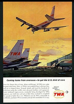 1962 TWA airlines Robert McCall plane evening airport color art vintage print ad