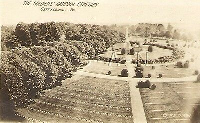 Org Vintage 10s-20s Sepia Real Photo- Gettysburg PA- Soldiers National Cemetery