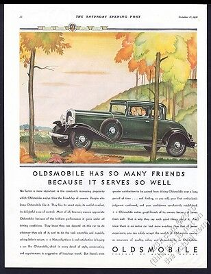 1932 Oldsmobile coupe green car autumn fall leaves art vintage print ad