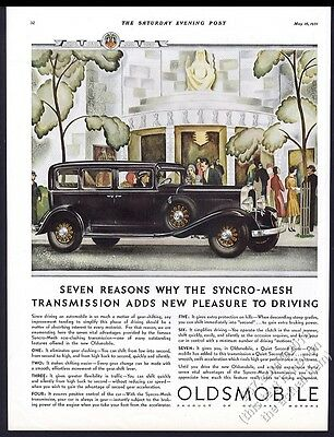 1931 Oldsmobile sedan black car color art vintage print ad