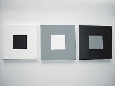 Hand Painted Modern Art Canvas Black,white, Grey 20Cm/30Cm Plain,squares,circles
