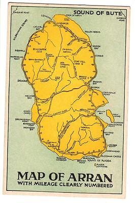 Vintage Postcard,map Of Arran,mileage Clearly Numbered,holmes Series
