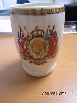 George V & Queen Mary Silver Jubilee commemmorative cup tankard