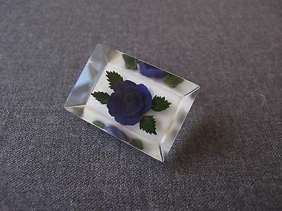 Vintage Reverse Carved & Painted Purple Flower & Leaves Clear & White Lucite Pin