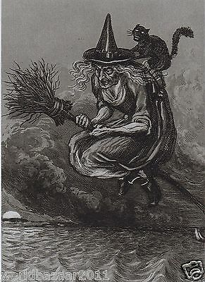 Victorian Witch Wicca Magic Halloween Broomstick Skull Potion Pagan Gothic