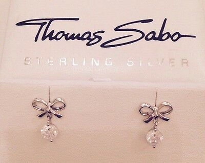 Thomas Sabo Sterling Silver Bow Earring with Crystal Drop