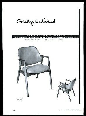 1960 Shelby Williams furniture modern chair 2 photo vintage print ad