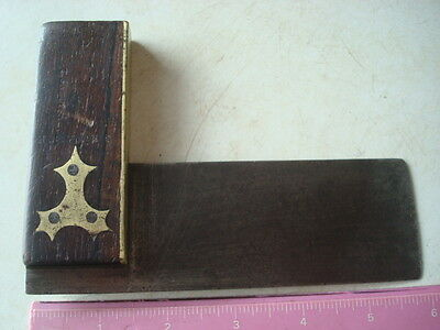 "Vintage 6""carpenters Rosewood, Brass & Best Spring Steel Plated Try Square"
