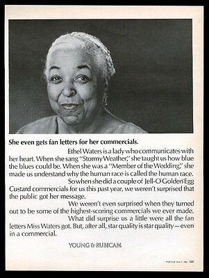 1968 Ethel Waters photo Young & Rubicam vintage print ad