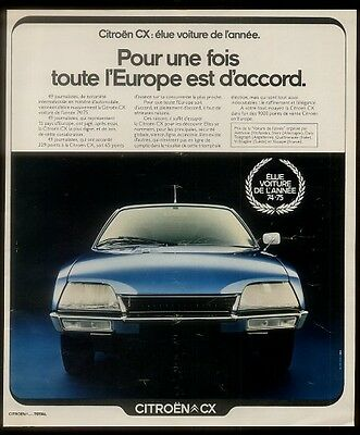1975 blue Citroen CX car photo vintage French ad