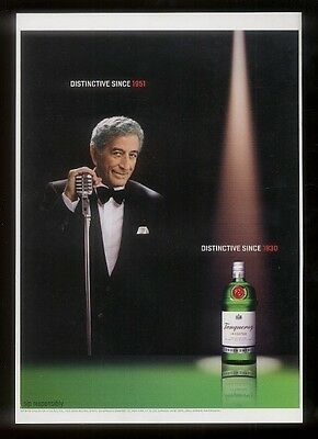 2002 Tony Bennett photo Tanqueray Gin print ad