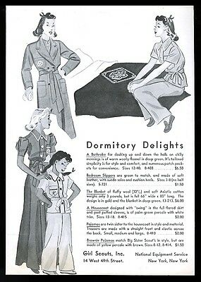 1939 Girl Scouts 'dormitory delights' pajamas robe vintage print ad