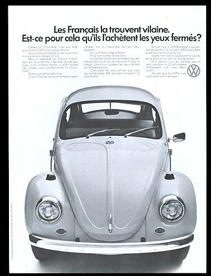 1971 VW Volkswagen Beetle classic car photo French vintage print ad