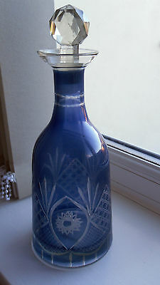 Blue Glass Ornate Perfume Bottle With Glass Stopper