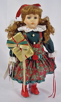 Yuletide Treasures Limited Edition AMBER Porcelain Doll with Stand Holiday Theme