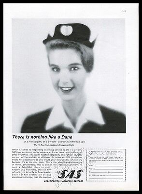 1963 SAS Scandinavian Airlines System smiling stewardess photo vintage print ad