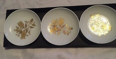 Rosenthal Studio Line - Set Of 3 Plates Boxed Gold And White