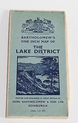 Vintage Bartholomew's one-inch map of the Lake District on Cloth