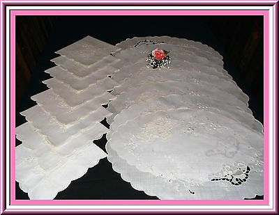 Stunning 16 Piece Vintage Hand Embroidered Placemat Set With Cutwork Pristine