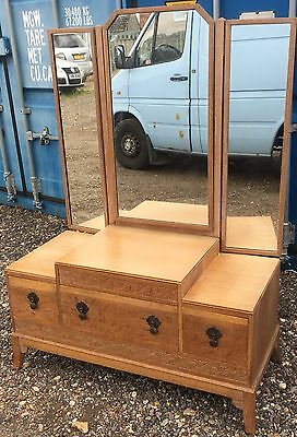 Art Deco Limed Oak Triple Dressing Table Chest Of Drawers