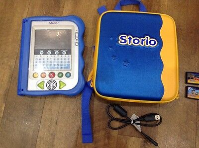 Vtech Storio Electronic Learning Toy Blue With Carry Case & 2 Games Bundle