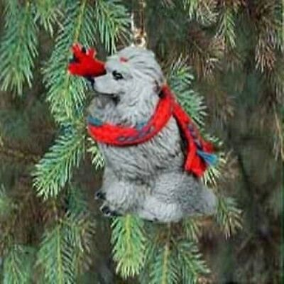Small Resin Xmas POODLE SILVER Tree Ornament