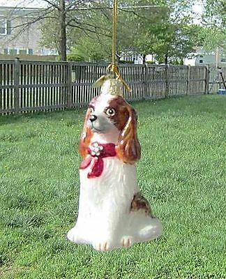 Quality Glass CAVALIER KING CHARLES RED III Blown Glass Xmas Ornament