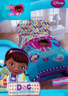 New Doc Mcstuffins Cuddle Turquoise Twin Comforter Sheets Sham 5Pc Bedding Set