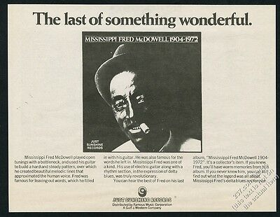 1973 Mississippi Fred McDowell photo Just Sunshine Records vintage print ad