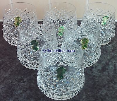 BOXED SET OF 6  WATERFORD ALANA CRYSTAL cut GLASS 9oz ROLY POLY TUMBLERS GLASSES