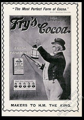 1910 Fry's Cocoa hot chocolate drink man with lantern art UK vintage print ad