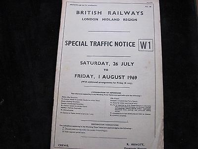 Br Lmr Special Traffic Notice W1 26 July 1 August  1969