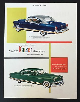 1952 Kaiser Manhattan Original Advertisement Color Car Vintage AD Safest Drive