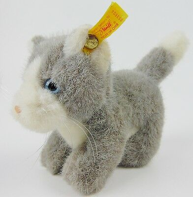 Steiff Gray Standing Cat 053504  Ear Tag Germany Stuffed Animal