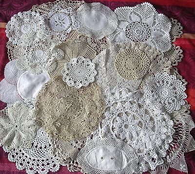 20 X Vintage Doilies MATS CROCHET LACE Job Lot WHITE IVORY CREAM COFFEE WEDDING