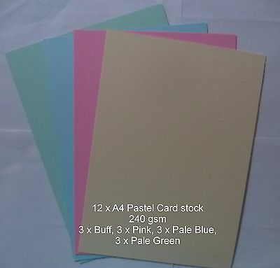 12 x A4  PASTEL Cardstock 240gsm card making *CLEARANCE* 4 colours 3 of each