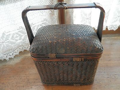 Rattan vintage sewing, lunch, storage box Looks Chinese, Japanese