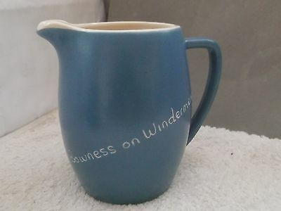 Devon Blue Milk Jug With Bowness On Windermere On Side Newton Abbot Pottery