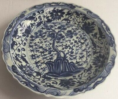 Chinese Signed 6 Character Mark Large Charger Blue & White Bonsai Tree