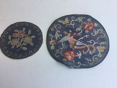 Vintage/Antique Stitched Chinese Clothing Textile Patch Lot Of 2. Dragon Flower