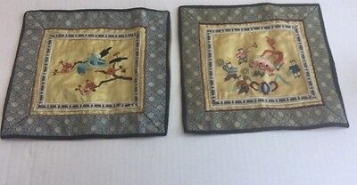 Vintage/Antique Stitched Chinese Clothing Textile Patch Lot Of 2 Birds Children