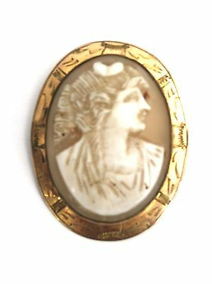Antique Victorian Cameo Gold Italian Lady Profile As Found