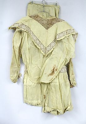 Vintage Antique 2 PC Victorian Dress Yellow Cotton Small Cutter Costume Women